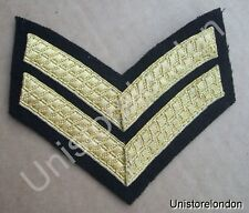 CHEVRONS CORPORAL STRIPES GOLD ON BLACK 2 BARS 100mm WIDE R530