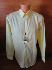 Mens Sz XL Calvin Klein Long Sleeve Yellow Dress Casual SLIM BODY FIT Shirt