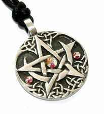 AB CRYSTAL April Birthstone PENTAGRAM Pewter Pagan PENDANT w/ Swarovski AURORA