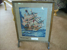 """Victorian Needle Point Textile Tapestry Fireplace Screen England """"Golden Hind"""""""