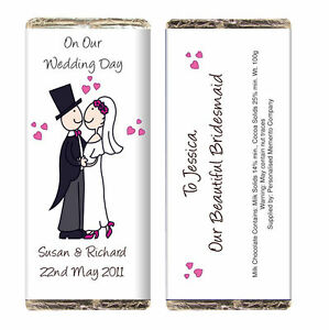 FUNKY WEDDING GUEST FAVOURS GIFT IDEA - PERSONALISED CHOCOLATE BAR