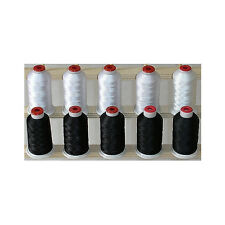10 CONES POLYESTER 1100yd MACHINE EMBROIDERY THREAD 5 Black/5 White THREADELIGHT