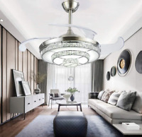 """42"""" Crystal Invisible Ceiling Fan Lamp Retractable Chandelier w/ LED Kit Remote"""