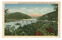 1940s Sandy Hook Bridge Over Potomac River Near Harper's Ferry WV Linen Postcard