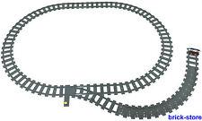 LEGO® Eisenbahn Schienenkreis mit Weiche/rechts gerade/Flex Schienen/Prellbock