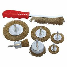 7PC AMTECH ROTARY WIRE WHEEL CUP BRUSH DRILL SET RUST PAINT REMOVER 6MM SHANKS