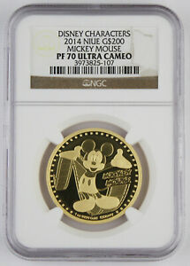 Niue 2014 $200 Disney Characters Mickey Mouse 1 Oz Gold Proof Coin NGC PF70 UC