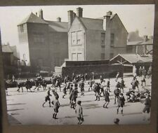 c1900 Stunning SCHOOL YARD Boys Playing WALES? PHOTO Glass Lantern Slide