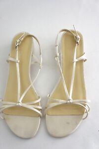 Grace Wedding formal Shoe Flat Kitten Strap buckle Off white Cream Size 7.5