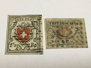old stamps  SWITZERLAND  x  2  early issues