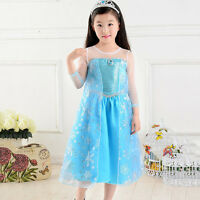 Girls Disney Frozen Princess Queen Elsa Anna Cosplay Costume Party Fancy Dress