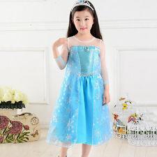 Frozen Princess Queen Elsa Anna Dress Cosplay Costume Party Halloween Long Dress