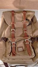 Kaukko Vintage Leather & Canvas Travel Backpack Satchel Carrying Bag Hiking  USA