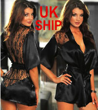 Hot Sexy Silk Lace Dressing Gown Bath Robe Babydoll Bathrobe Lingerie Nightdress