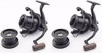 2x Wychwood Riot Big Pit Matt Black 75S Carp Fishing Distance Reel + Spare Spool