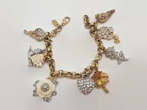 Vintage Nolan Miller Charm Bracelet 8 Charms Heart Flowers Bird