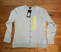 NWT Womens Grey Stripes JONES NEW YORK Button Up Cardigan Sweater Size Large L