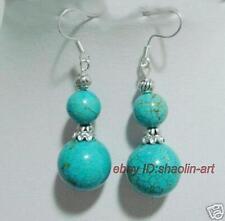 Tibet boucles d'oreilles, turquoise gemme ,argent