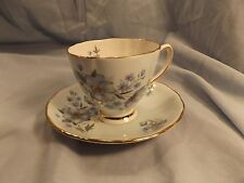 Colclough Bone China Teacup & Saucer - Blue Flowers/Gold #8176 - England