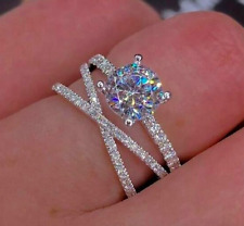 NEW CUBIC ZIRCON WITH CRISS CROSS WHITE CRYSTAL SAPPHIRES SIZE IN GIFT BAG