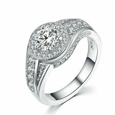 Round Cut Cubic Zirconia Ring Fashion Jewelry Lady Silver Plated