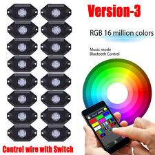 16 Pods RGB LED Rock Lights Wireless for Jeep Off Road Truck Boat Accessories