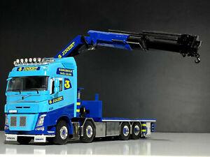 """Volvo FH4 8x4 riged flatbed Palfinger crane+jib """"Jinert""""WSI truck models 01-2212"""