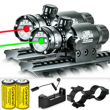 Tactical Green Red Laser Sight Rifle Dot Scope+ Switch + Rail+ Mounts Hunting Us