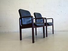 2 danish dyrlund leather arm chairs denmark vodder lounge