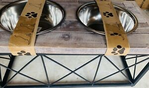 Rustic Wood Metal Farmhouse Handcrafted Dog feeder 2 Pint Stainless Steel Bowls