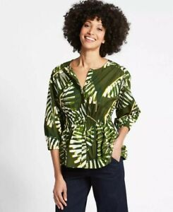 M&S Collection Ladies 10 Blouse Top Tropical Palm Leaf Print Structured Peplum