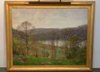 "Robert Hogg Nisbet Original Oil Painting ""May Morning"" 42-1/2 in x 52-1/2in"