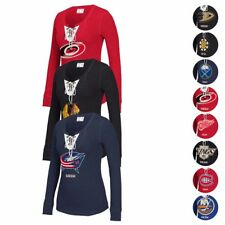 NHL CCM Lace-Up Henley Retro Distressed Premium Long Sleeve Shirt Women's