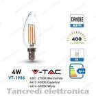 Lampadina led V-TAC 4W = 40W E14 VT-1986 a candela filamento lampada lampadine