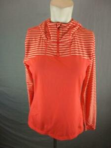 Mountain Hardwear Size M Womens Orange Athletic 1/4 Zip Pullover Hoodie T768