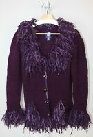 AMANO Bolivia Womens Wool Cardigan Sweater Purple Fringe Artsy V-Neck Size M L