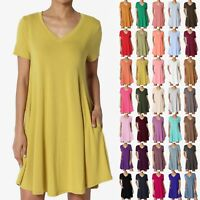 TheMogan S~3X Basic Jersey V-Neck Short Sleeve Pocket Trapeze Short Tunic Dress