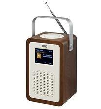 "JVC RA-D57 PORTABLE DAB+ FM CLOCK RADIO WOOD & CREAM FINISH 3.2"" LCD DISPLAY"