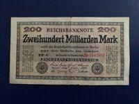 GERMANY - 200 BILLION MARK 1923 -  VERY FINE