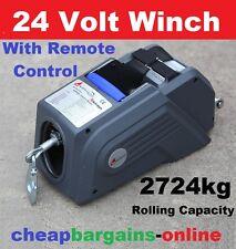 24V ELECTRIC WINCH 2000LB 908kg REMOTE CONTROL 9M STEEL CABLE BOAT TRAILER WINCH