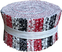 Red Black & White Collection Jelly Roll 40 Precut 2.5-inch Quilting Fabric Strip