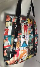 NEW Elle Magazine Cover Girl Retro Multi Color Tote Book Bag Handbag