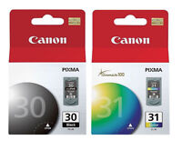 Canon 30 Black & 31 Tri color Ink Cartridges, New, Genuine, Retail Box