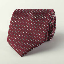 "Burgundy Red Contrast Studs Wide 3.5"" Neck Tie Luxury Woven Sexy 4 Spread Collar"