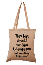 "NEW TOTE BAG: ""Champagne or Prosecco?', Light pink.100% cotton. Great GIFT"