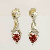 NATURAL GARNET WHITE GOLD EARRINGS HEART SHAPE GARNETS DIAMONDS REAL 9K DROPS