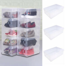 Home Plastic Clear Shoes Boot Boxes Stackable Foldable Storage Organizer 5Pcs