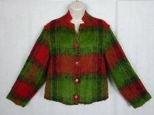 Vintage Mohair Cardigan Ls Button Front Sweater ~ Green Red Black ~ Japan