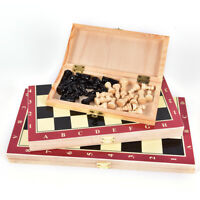 Wooden Pieces Chess Vintage Folding Board Box Hand Carved Foldable middle-siz3C
