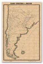 Map ARGENTINA Plano Catastral de la Nacion y C. de Chapeaurouge circa 1901 24x36